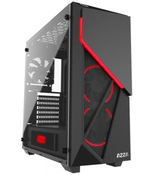 Gabinete AZZA Inferno 310 Black Tempered Glass RGB