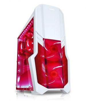 Gabinete SAMA JAX-01 Blanco & Rojo 12Cm Led Red x 4