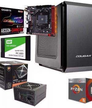 PC GAMER MINI ITX AM4 RYZEN 2400G VIDEO RADEON RX VEGA 11 MOTHER GIGABYTE B350N-GAMING WIFI DDR4 8GB SSD 240GB COUGAR QBX 500w