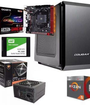 PC GAMER MINI ITX AM4 RYZEN 2400G VIDEO RADEON RX VEGA 11 MOTHER GIGABYTE B350N-GAMING WIFI DDR4 8GB SSD 120GB COUGAR QBX 500w